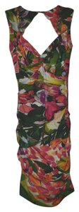 Nicole Miller short dress floral Full Length Tropical Print Ruched Orange on Tradesy