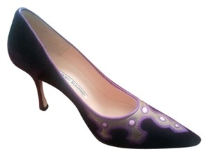 Manolo Blahnik Classic Leather Suede Velvet Royal Purple Formal