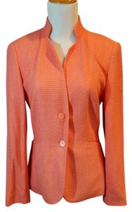 Talbots Small Tweed Pastel Soft Jacket Tangerine Blazer