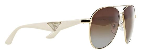 94fb88b7c2a Prada PRADA AVIATOR SUNGLASSES PR 53QS GOLD METAL with WHITE TEMPLES   BROWN  GRADIENT ...