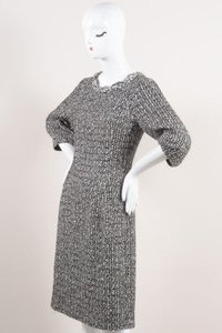 Oscar de la Renta Cream Tweed Pouf Quarter Sleeve Dress