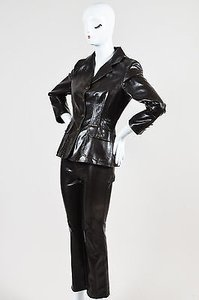 Moschino Moschino Jeans Brown Faux Leather Embossed Blazer And Pant Suit Set