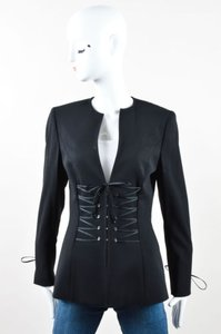 Escada Escada Black Wool Collarless Lace Up Hook Eye Blazer Jacket