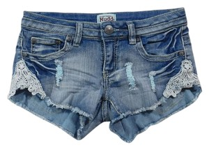 Mudd Distressed Lace Trim Stretchy Mini/Short Shorts Light Blue Denim