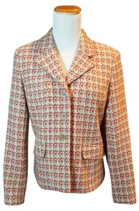Talbots Tweed Jacket Small 6 Petite Fusia/Lime/Offwhite Blazer