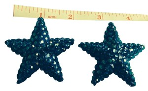 Other Big Blue Rhinestone Encrusted Star Shaped Earrings