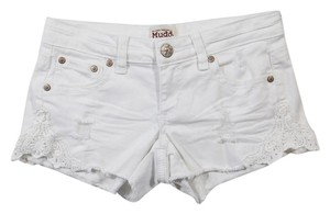 Mudd Cutoff Lace Trim Distressed Mini/Short Shorts White