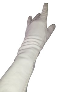 Vintage-Italian-Long-Supple-White-Leather-Wedding-Prom-Gloves-WithStretch-Pristine-Vintage
