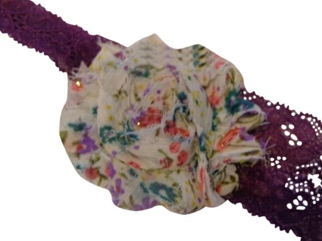 Purple and Lt Beige Handmade with Green Red Flowers On Elastic Lace. Hair Accessory Purple and Lt Beige Handmade with Green Red Flowers On Elastic Lace. Hair Accessory Image 1