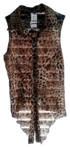 Wet Seal Animal Print Button Down Spring Lace Top Leopard print