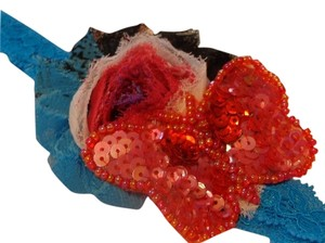 Other Handmade multi-color: turquoise,white,black and red on turquoise elastic lace.