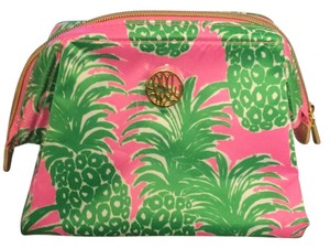 Lilly Pulitzer Silk Pink And Green Cosmetics Bag