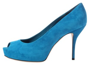 Gucci Blue Peep Toe Suede Leather Pumps