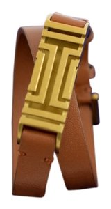 Tory Burch Tory Burch Fitbit Fret Brown Double Wrap Leather & Gold Tone Bracelet