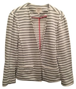 Ann Taylor LOFT Jacket Knit Stripes Cute Night Day Work Party Weeknd white and grey Blazer