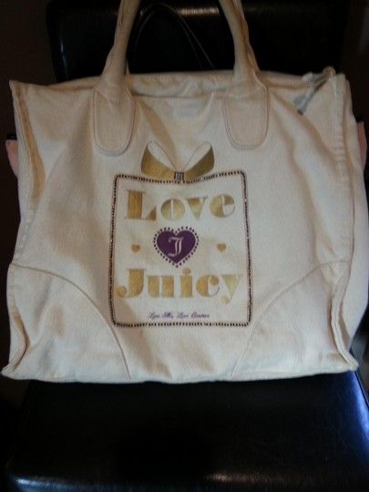 Juicy Couture Tote in off white gold lettering purple bling