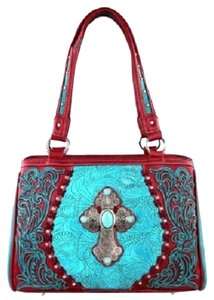 Montana West Spiritual Collection Satchel in Red & Turquoise