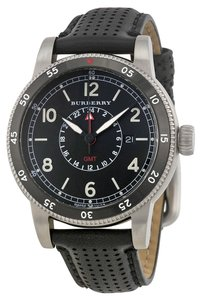 Burberry BURBERRY The Utilitarian GMT Black Dial Black Leather Men's Watch