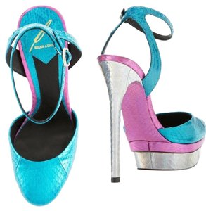 B Brian Atwood Teal / purple / Silver Platforms