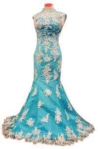 Other Gown Prom Engagement High Neck Lace Sequins Sequin Lace Trim Teal Turquoise Fancy Elegant Classy One Of A Kind Made Dress