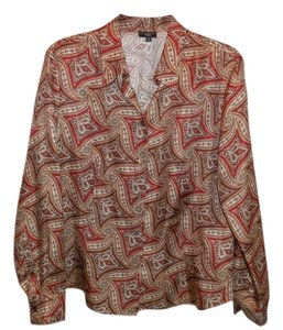 Talbots Paisley Silk Blouse Button Down Shirt Multi Color