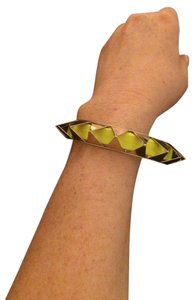 Other Yellow Gold Plated Neon Yellow Leather Band Rock Stud Bangle Bracelet
