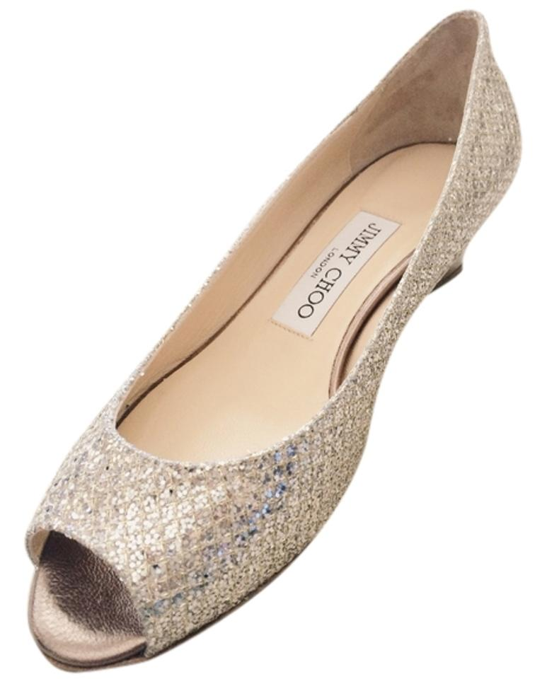 b8b7454e3b10 Jimmy Choo Champagne Bergen Glitter Pump - Wedding Wedges Size US 7 ...
