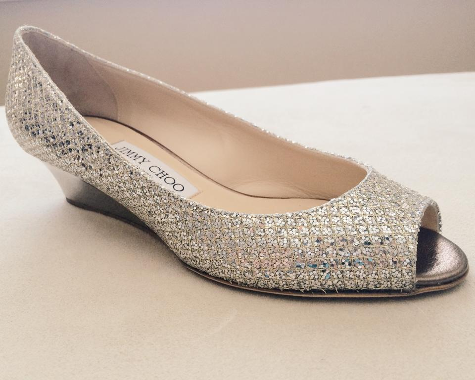 c760a4224566 Jimmy Choo Champagne Bergen Glitter Pump - Wedding Wedges Size US 7 Regular  (M