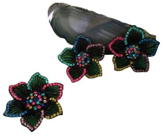 Other 1980s Large Flower Earrings & Pin Set