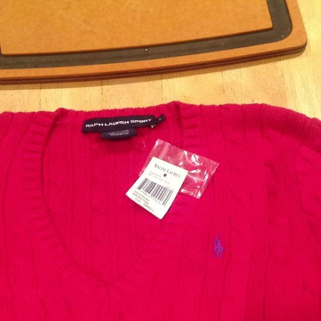 Ralph Lauren Cable Pink Cotton V-neck Sweater