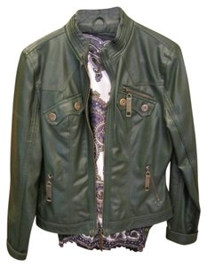 Frida Leather Like Washable Forest Green Leather Jacket
