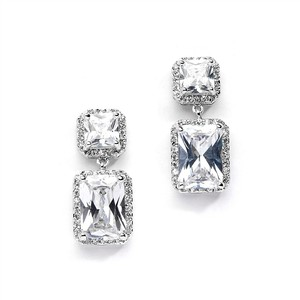 Mariell Maquificent Princess & Emerald Cut Drop Crystal Earrings