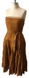 Twelfth St. by Cynthia Vincent short dress Ochre Strapless Gauzy Gathered on Tradesy