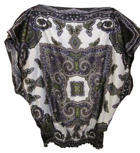 IZ Byer California Color Pull Over Short Sleeve Silky Washable Forest Green Plum Lilac Black Ivory Angle Elastic Waist S Small Top Multi