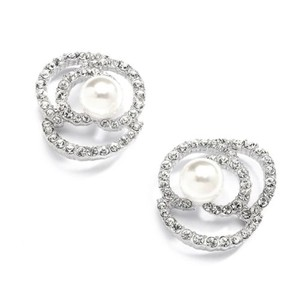 Silver/Rhodium Crystal and Pearls Floral Earrings