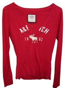 Abercrombie & Fitch Abercombie Long Sleeve V Neck T Shirt Pink