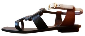 Marc Jacobs Leather Blue Colorblock blue/brown/cream Sandals