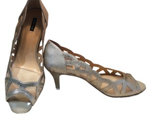 Alex Marie Cutout Snake Embossed Gold Pumps