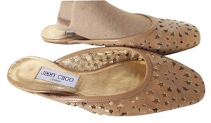 Jimmy Choo Patent Leather Rubber Soles Perforated Beige Flats