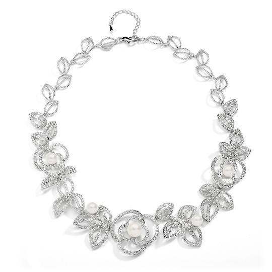 Silver/Rhodium Couture Crystals Pearls Statement Necklace