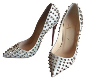 Christian Louboutin Spikes Glitter Sparkle Ivory/Colombe Metal Pumps