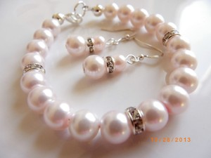 Other Bridesmaid Set Of 7 Bracelet And Earrings Pink Pearl Earrings Grey Cream Jewelry Rhinestone Crystal Earrings