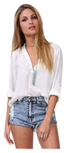 Chiffon 3/4 Sleeve Office Top White w/Gold Buttons