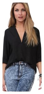 Chiffon 3/4 Sleeve Office Top Black w/Gold Buttons