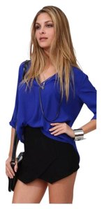 Other Chiffon 3/4 Sleeve Office Professional Business Versatile Up Lightweight Date Night Gold Embellished Rolled Sleeve Hi Top Blue w/Gold Buttons