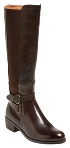 Corso Como Leather Stretch Wide Calf Classic Riding Brown Boots