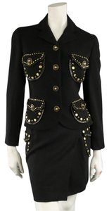 Versace Vintage GIANNI VERSACE 1993 8 Black Gold Medusa Stud Leather Trim Skirt Suit