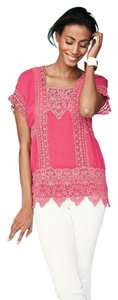 Johnny Was Rayon Edgy Lace Trim Tunic