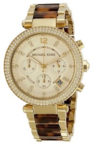 Michael Kors BRAND NEW Chronograph Parker Tortoise /Gold-ToneBracelet Watch 39mm MK5688