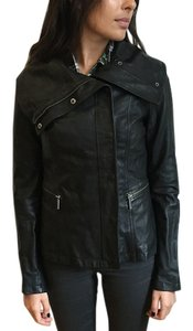 Vince Leather Button Up Black Jacket